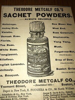 Metcalf Sachet Powders 1892 Ad Boston Great Early Label Bottle Graphic
