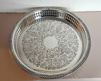 Vintage Silver Plate ROUND SERVING GALLERY DRINKS SERVING TRAY Engraved Design