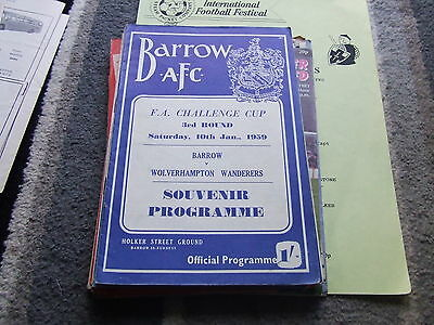 Barrow V Wolverhampton Wanderers 1958-9 Fa Cup 3Rd Round