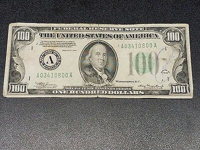 1934 $100 One Hundred Dollar Bill Boston - Circulated Federal Reserve Note