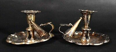 Pair Traditional Silverplated Low Handled Chambersticks Candleholders w/Snuffers
