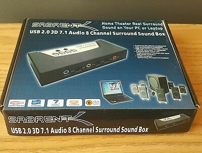 SABRENT USB 2.0 3D 7.1 Audio 8 Channel Surround Sound Box for PC