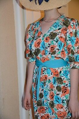 ROBE IMPRIMEE VINTAGE 1970  -  taille 40