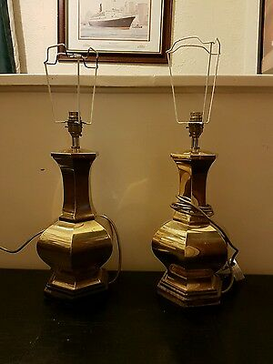 Pair of Working Antique Brass Lamps || Vintage 1990 Searchlight || No Shades