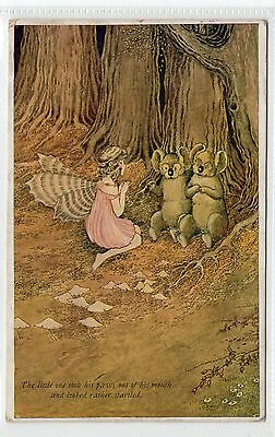 """THE LITTLE ONE TOOK HIS PAWS.."": Elves & Fairies postcard by Outhwaite (C24410)"