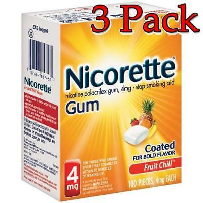 Nicorette Stop Smoking Aid Gum, FruitChill, 4mg, 100ct, 3 Pack 307667857603A4051