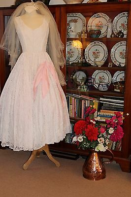 Original Vintage 1950's Lace Wedding Dress With Pink Bow