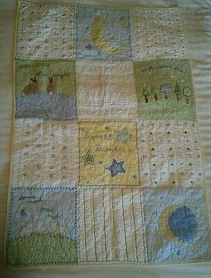 Pottery Barn Kids Crib Toddler Quilt Green Blue Yellow Twinkle Twinkle