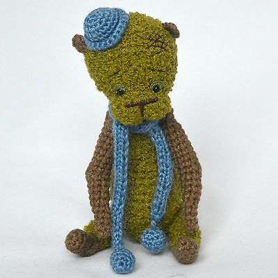 Crochet green bear, artist teddy miniature, 7 ¼in.