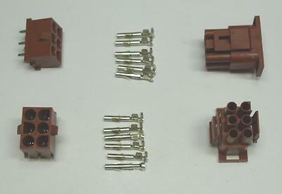 MOLEX 6 Pin Connector Set Cable to PCB, MLX series, 2 complete sets, NEW