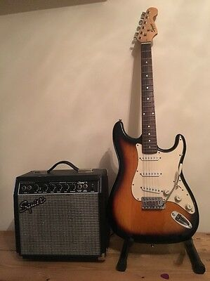 Fender Squier Guitar, Stand, Fender Amp And Case