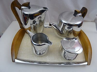 Vintage Picquot Ware 4 Piece Tea Set & Tray Has been Professionally Repolished