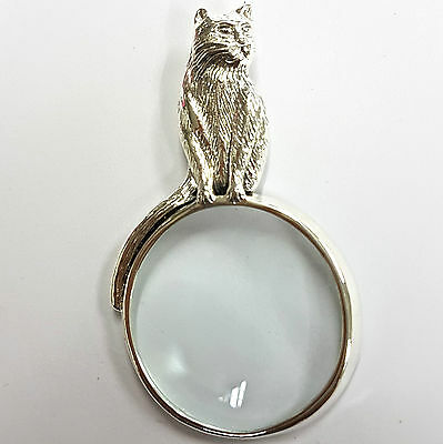 Art Nouveau Style Cat Magnifying Glass Pendant 925 Sterling Silver