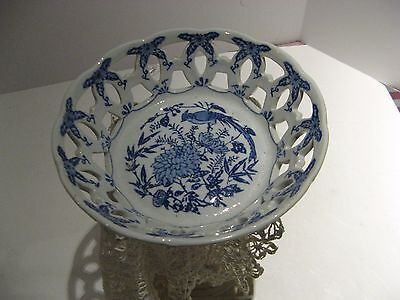 Vtg Lovely Blue and White China Plate, Oriental Looking w/Lacy Edge
