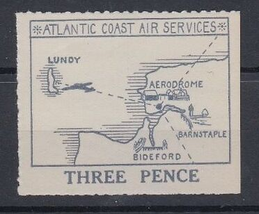 Lundy 1936 Acas Large Map Air Issue 3D Value Unused Mnh Superb