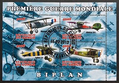 Flugzeuge /Airplanes /Biplanes Congo 2013 KB Sheet