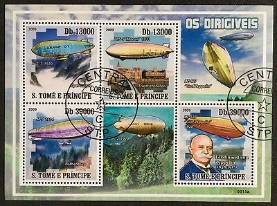 Zeppelin Flugzeuge Airplanes Avions Aircrafts S.Tome E.Principe 2009 KB Sheet #