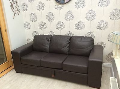 brown leather 3 seater sofa-bed