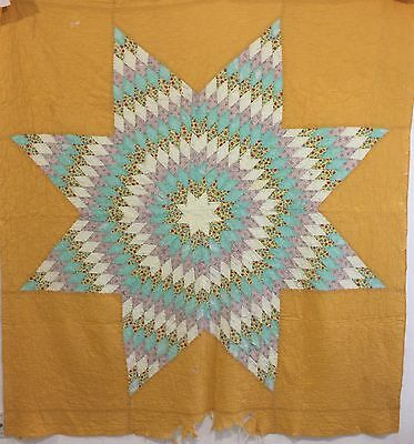 Vintage Quilt Lone Star Quilt 1930's Antique Bedding Yellow Blue