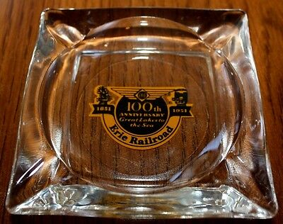 Erie Railroad 100th Anniversary Glass Ashtray