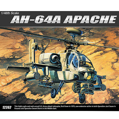 Academy 1/48 AH-64A APACHE  Plastic Model Kit Helicopter #12262