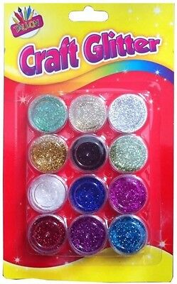 12 Glitter Shakers Assorted Tubs Pots Children Kids Colours Art Cards Craft 6088