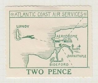 Lundy 1936 Acas Large Map Air 2D Flagstaff Over Town Hall Flaw Error Mh
