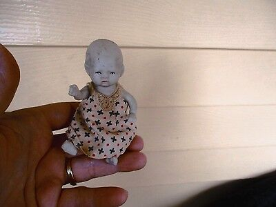 "Antique all porcelain bisque 4 1/2""  made in Japan baby doll"