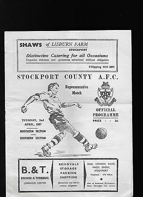 At Stockport County Northern Section V Southern Section 1956/57