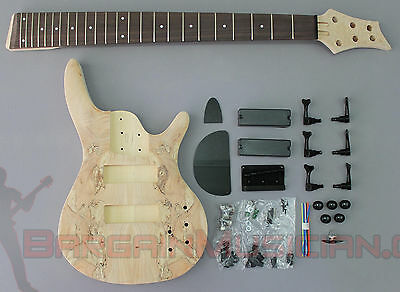 BASS - 6 String Body Style DIY Unfinished Project Luthier Electric Guitar Kit!