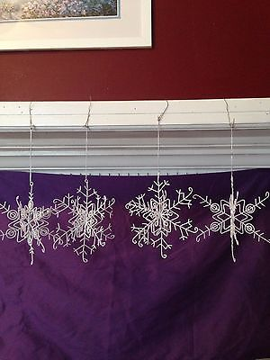 SNOWFLAKE Christmas Ornaments white winter decorations hanging Set of 4