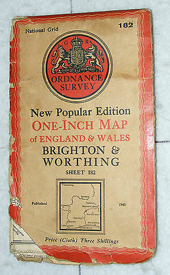 Ordnance Survey,New Popular Edition,Brighton & Worthing,Sheet 182,1 inch to mile