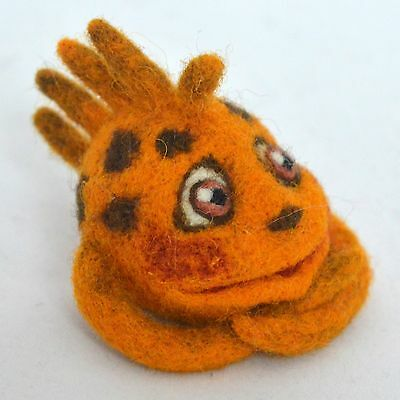 Artist fantasy orange monster, handmade felted wool miniature, 1 ¾in.