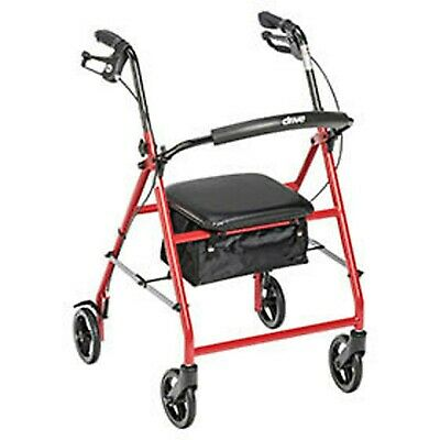 "Red 4 Wheel Rollator Walker with Padded Seat, Pouch, 6"" Wheels, Adjustable"