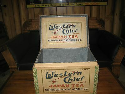 Western Chief Japan Tea Wooden Tin lined Store Bin COLORFUL