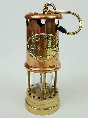 Miners Oil Lamp Copper Brass Beamish Maghogany Drift Railway Welsh repro unused