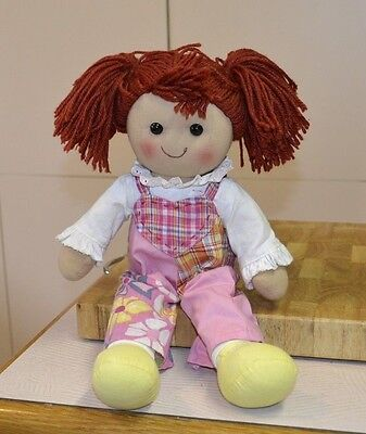 40cm Fabric Doll Red Yarn Hair Patchwork Overalls Frilly Blouse Pretty Cloth Toy