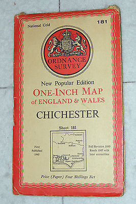 Ordnance Survey,New Popular Edition, Chichester, Sheet 181,1 inch to mile, 1945