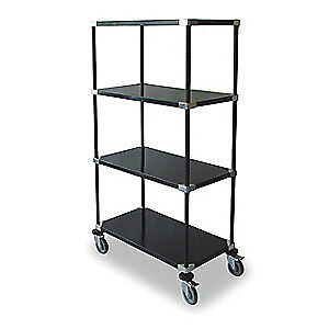 DAYTON High Cart,HD,Blk,4 Solid Shelf,48x24x69, 2HDR7