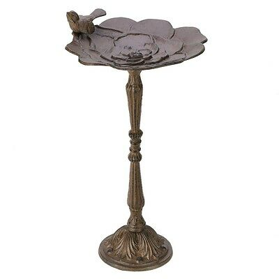 "Lovely Antique Rustic Cast Iron Outdoor Garden Birdbath With 19"" Stand"