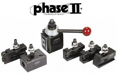"Phase II Tool Post Set 5 Holders Piston BXA 10 To 15"" Lathe Swing"