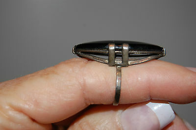 Antique Sterling Silver? Lovely Large Black Onyx/Lucite? Victorian Ring - 5-1/2