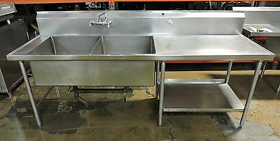 Used Stainless Steel 2-Compartment Sink with Bottom Shelf and Twist Drain