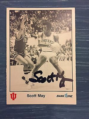 Scott May Signed Trading Card Autographed Indiana Hoosiers IU Bank One 1