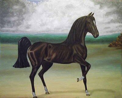 Wildlife Painting of a Horse, oil on canvas- print