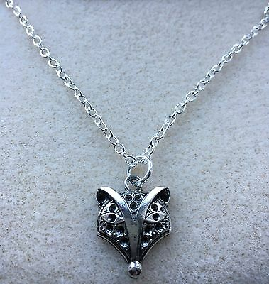 Silver Plated Necklace with Antique Silver Colour FOX Charm Pendant Wildlife