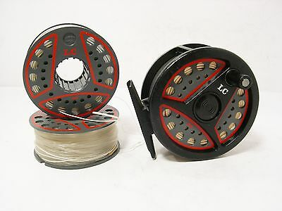 """Leeda LC 100 3 ¼"""" Fly Fishing Reel & 2 Spare Spools - All Loaded with Line"""
