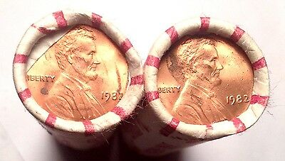 Lot of  2 1982 P LINCOLN CENT Large Date UNCIRCULATED Bank of America PENNY ROLL