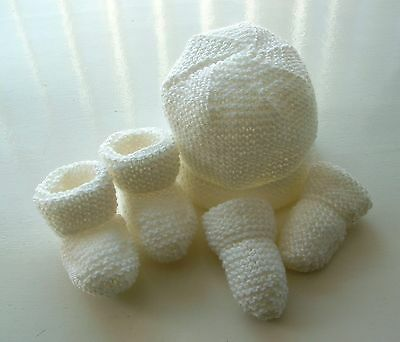 Baby Hand Knitted Hat, Mittens, Bootees Set, White, 0-3 Months, New