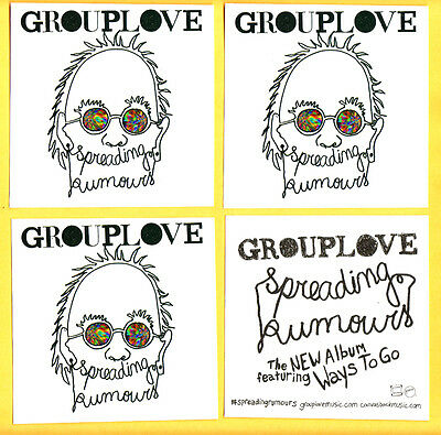 GROUPLOVE Spreading Rumours 3 PROMO STICKERS for cd HANNAH HOOPER Group Love